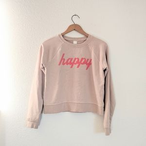 H&M Light Dusty Pink Happy Cropped Sweater XS